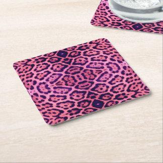 Jaguar-Pelz in rosa und in Lila Rechteckiger Pappuntersetzer