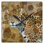 Jaguar u. Mayatempel-Ruine-Tier-Wanduhr