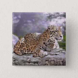 Jaguar und Mayatempel Quadratischer Button 5,1 Cm