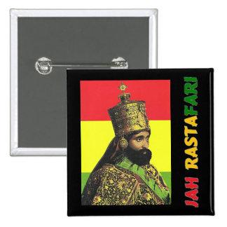 Jah Rastafari Knopf Quadratischer Button 5,1 Cm
