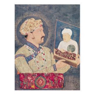 Jahangir, das ein Porträt des Kaisers Akbar hält Postkarte