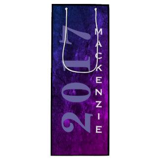 Jahr blaues rosa lila Ombre | des Geschenktüte Für Weinflaschen