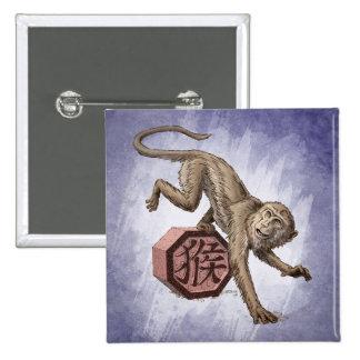 Jahr der Affe-chinesischen Tierkreis-Kunst Quadratischer Button 5,1 Cm