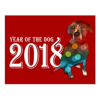 Jahr der doppelten Belichtung des Hund2018 Postkarte