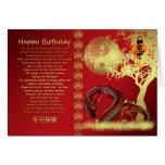 Jahr der Drachegeburtstagskarte - Rot und Gold E-F Grußkarte