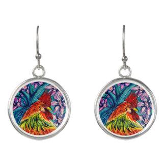Jahr der Hahn-Wasserfarbe-Tropfen-Ohrringe Ohrringe