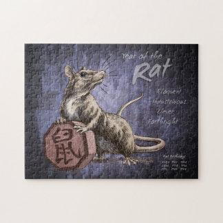 Jahr der Ratten-chinesischen Tierkreis-Kunst Puzzle