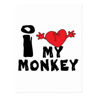 """Jahr des Affen """"ich Liebe mein Affe """" Postkarte"""