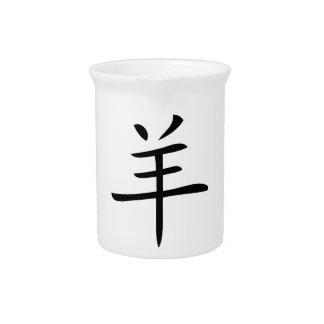 Jahr des chinesischen Schriftzeichens der Ziege Krug