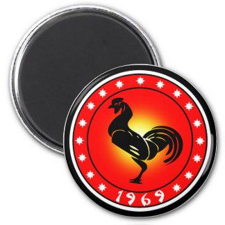 Jahr des Hahns 1969 Runder Magnet 5,7 Cm