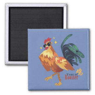 Jahr des Hahns, cooler Hahn mit Sunglass Magneten Quadratischer Magnet