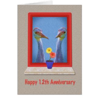 Jahrestag, 12., zwei Sandhill Kräne Karte