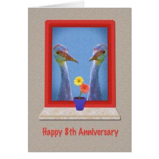 Jahrestag, 8., zwei Sandhill Kräne Karte