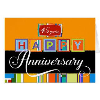 Jahrestag des Angestellt-45. - mutige Farben Karte