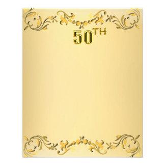 Jahrestag des Gold50. oder Geburtstags-antiker 11,4 X 14,2 Cm Flyer