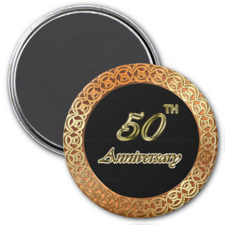 Jahrestag des Gold50. Runder Magnet 7,6 Cm