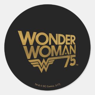 Jahrestags-Goldlogo der Wunder-Frauen-75. Runder Aufkleber