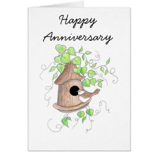 Jahrestags-Karte, Chickadee auf Birdhouse Karte