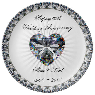 Jahrestags-Porzellan-Platte des Diamant-Herz-60. Teller