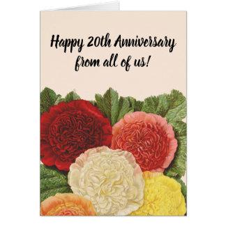 Jahrestags-Vintage rote weiße rosa gelbe Rosen Karte
