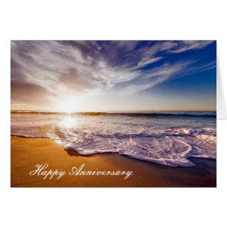Jahrestagskarte mit schönem Strand Showerline Karte