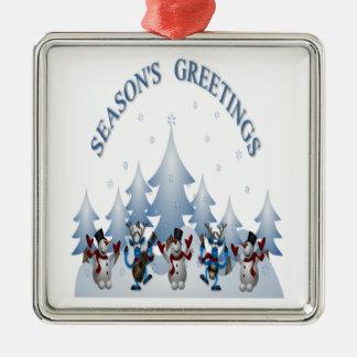 Jahreszeiten, die Entwurf mit der Freude am Quadratisches Silberfarbenes Ornament