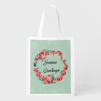 Jahreszeiten Greatings roter BlumenAquarell-Kranz Wiederverwendbare Einkaufstasche