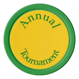 Jährliche Turnier-Grüne Poker-Chips Poker Chips