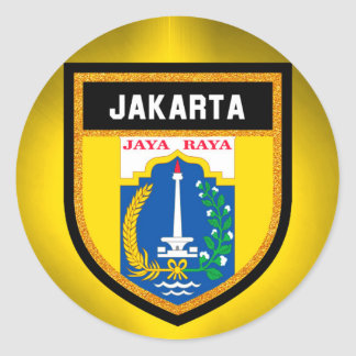 Jakarta-Flagge Runder Aufkleber