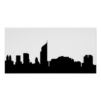 Jakarta-Stadt Skyline-Silhouette Indonesien Poster