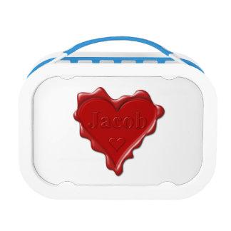 Jakob. Rotes Herzwachs-Siegel mit Namensjakob Brotdose
