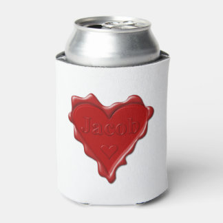 Jakob. Rotes Herzwachs-Siegel mit Namensjakob Dosenkühler
