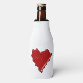 Jakob. Rotes Herzwachs-Siegel mit Namensjakob Flaschenkühler