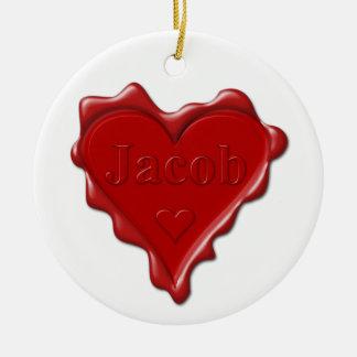Jakob. Rotes Herzwachs-Siegel mit Namensjakob Keramik Ornament
