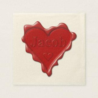 Jakob. Rotes Herzwachs-Siegel mit Namensjakob Papierserviette