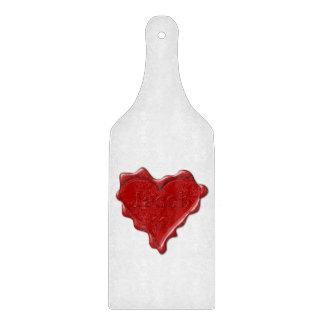 Jakob. Rotes Herzwachs-Siegel mit Namensjakob Schneidebrett