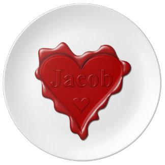 Jakob. Rotes Herzwachs-Siegel mit Namensjakob Teller