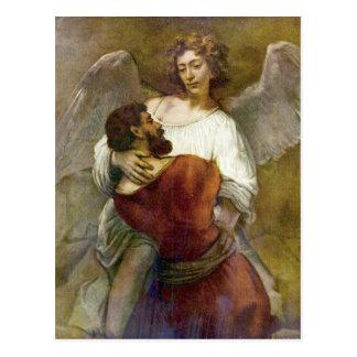 Jakobs Kampf mit dem Engel durch Rembrandt Postkarte