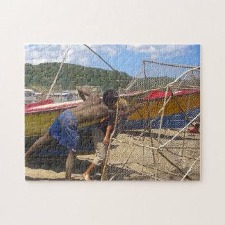Jamaika-Fischer auf einem Strand Puzzle