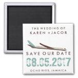Jamaika-Hochzeit in Urlaubsort Save the Date Quadratischer Magnet