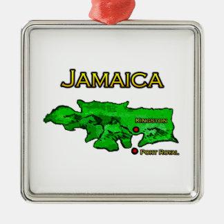 Jamaika-Karte (grün-gelb-schwarz) Silbernes Ornament