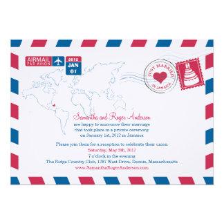 Jamaika-Luftpost-Posten-Hochzeits-Empfang Einladungskarten