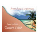 Jamaika Save the Date (korallenroter Sand) Postkarte
