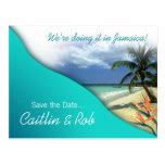 Jamaika Save the Date (Smaragdwasser) Postkarte