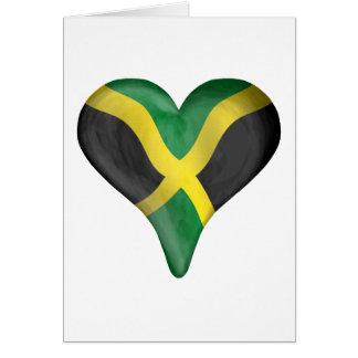 Jamaikanische Flagge in einem Herzen Karte