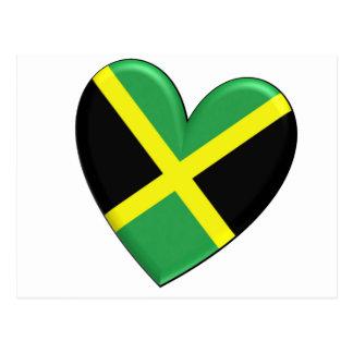 Jamaikanische Herz-Flagge Postkarte