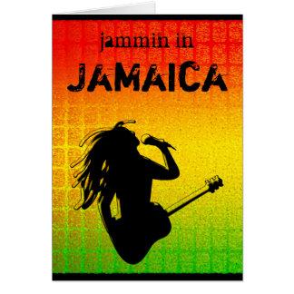 Jammin in der Jamaika-Reggae Rasta Gruß-Karte Karte