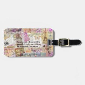 Jane Austen-Reiseabenteuerzitat Gepäckanhänger