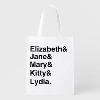 Jane Austen-Typografie-Listen-Einkaufstüte Wiederverwendbare Einkaufstasche