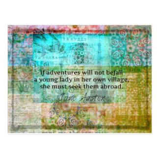 Jane Austen-Zitat über Abenteuer und Reise Postkarte